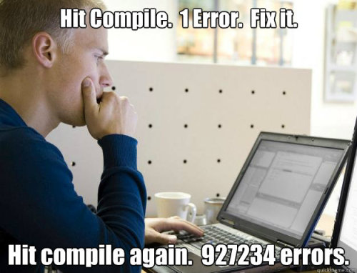 (via Programmer - hit compile 1 error fix it hit compile again 927234 e)