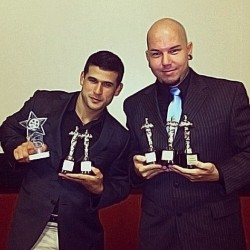 "With my lead actor and all the awards we won for ""A Spaniard's Tale"". #filmmaking #awards"