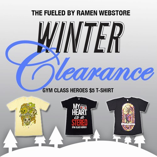 Pick up select shirts on sale for $5 during our Winer Clearance. We are giving away a FREE Stereo Hearts Bracelet & Fueled By Ramen Sticker Package with any purchase when you use the code WINTER6. The sale lasts through February 4th! Shop HERE.