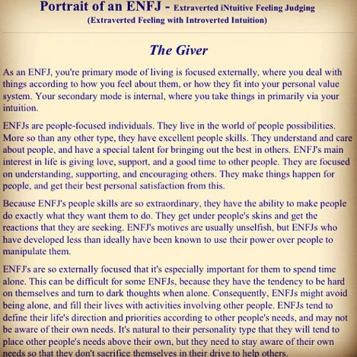 If you want to get to know how I truly am, this perfectly described ME it gave me goosebumps.. #enfj #personalitytrait #myersbriggs #giver #takenforgranted #text #ig #igersmanila #igerspinoy #igdaily #ignation