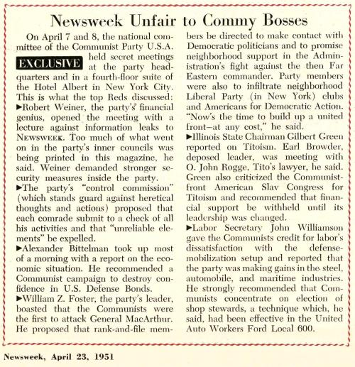 """Newsweek Unfair to Commy Bosses"" [1951]"