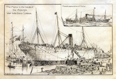 The Maine in the Hands of the ShipwrightWest India Docks, LondonPen & Ink on PaperRichard Quiller LaneLondon, England1899  This rather exquisite pen and ink drawing by British maritime artist Richard Quiller Lane depicts the conversion of the Atlantic Transport Line steamer SS Maine into a hospital ship during the Anglo-Boer War…  more  The Atlantic Transport Line was an American passenger shipping line based in Baltimore, Maryland. The line developed with railroad support as an offshoot of Bernard N. Baker's Baltimore Storage and Lighterage Company in 1881. Although American owned, the Atlantic Transport Line operated from Britain, with British registered and manned vessels, most of which were British built. A full-scale regular passenger service to New York commenced in 1892 and today the line is best known for its first class only direct London to New York passenger/cargo service operated by four ships, SS Minneapolis, SS Minnehaha, SS Minnetonka and SS Minnewaska from 1900 to 1915. In 1898 the U.S. Government bought seven of the Line's ten ships for use as military transports in the Spanish American War. Much of the line's fleet was sunk during the First World War.  more