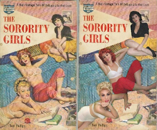 The Amazine Mala Mastroberte recreates Vintage Sleaze Paperbacks with her self-portraits.  (Yes…all three are Mala)  HERE