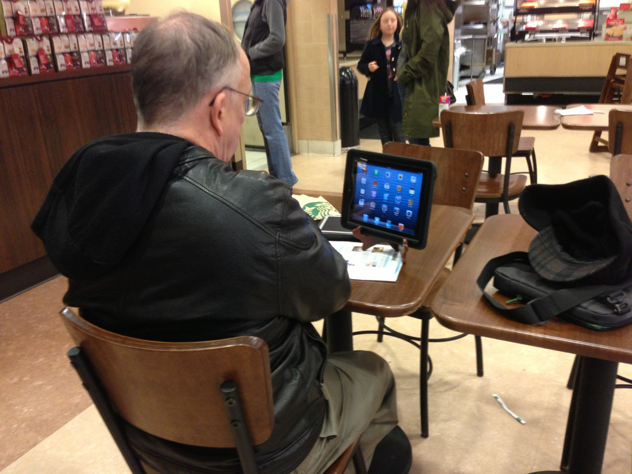 Clever: dish stand becomes iPad stand. Seen at Target Starbucks