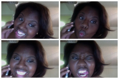 On the phone x Getting ready to go out x On PhotoBooth… At the same damn time.