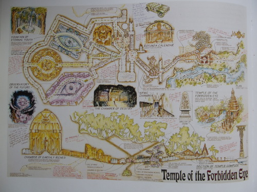 imaginaryarchitecture:  Wall map, Temple of the Forbidden Eye, for interior of the Indiana Jones attraction, Disneyland. In this ride, architecture is the attraction. Chuck Ballew. Coloured pencil, acrylic and ink on blackline. 35x48. 1994. Marling, Karal Ann ed. Designing Disney's Theme Parks: The Architecture of Reassurance. New York: Flammarion, 1997. Print.