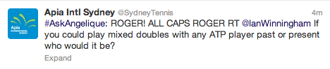 Angelique Kerber took over the Sydney International's Twitter page. Apparently she loves Roger Federer … a lot.