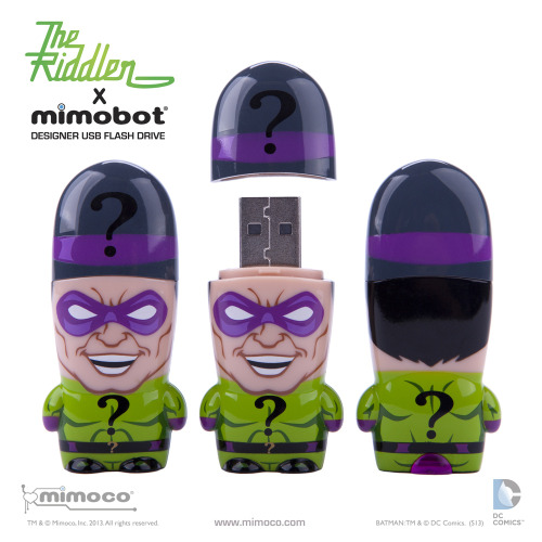 I'm a huge fan of Mimoco's pre-programmed USB flash drives,they are so very cool,and you can't get much cooler than this new limited edition Riddler design from the company. Riddler X MIMOBOT: Based on a classic styling of the elusive querying madman, question marks adorn his questionably classy three-piece suit. Joining a slew of super heroes and fellow villains which include classic and collectible characters like Superman, Batman (DKR Edition), and The Flash (Drive), all deceivingly small DC Comics x MIMOBOT styles are now available in a spacious 128GB of data storage, and are offered in both USB2.0 and USB3.0 formats. Riddler X MIMOBOT, as all others in the collection, comes preloaded with exclusive Mimory® content and our MimoDesk® personalization suite, which includes Riddler-themed wallpapers, icons, and avatars.  Get yours here.