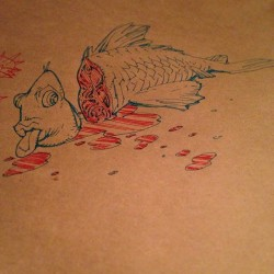 Goooood sushi, so I doodled on the table. (Paper table covering, not actual table, I'm not that much of a dick)