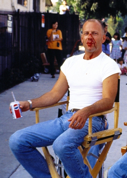 Bruce Willis on the set of, Pulp Fiction.