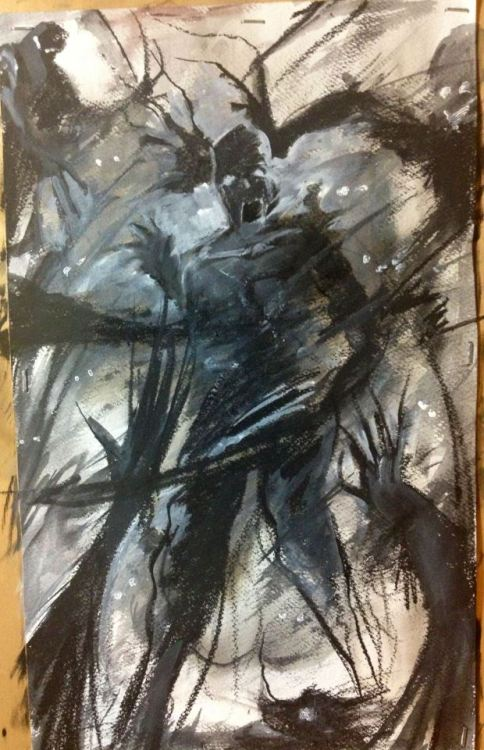 Fear drawing   Gouache, Charcoal, Smoke painting