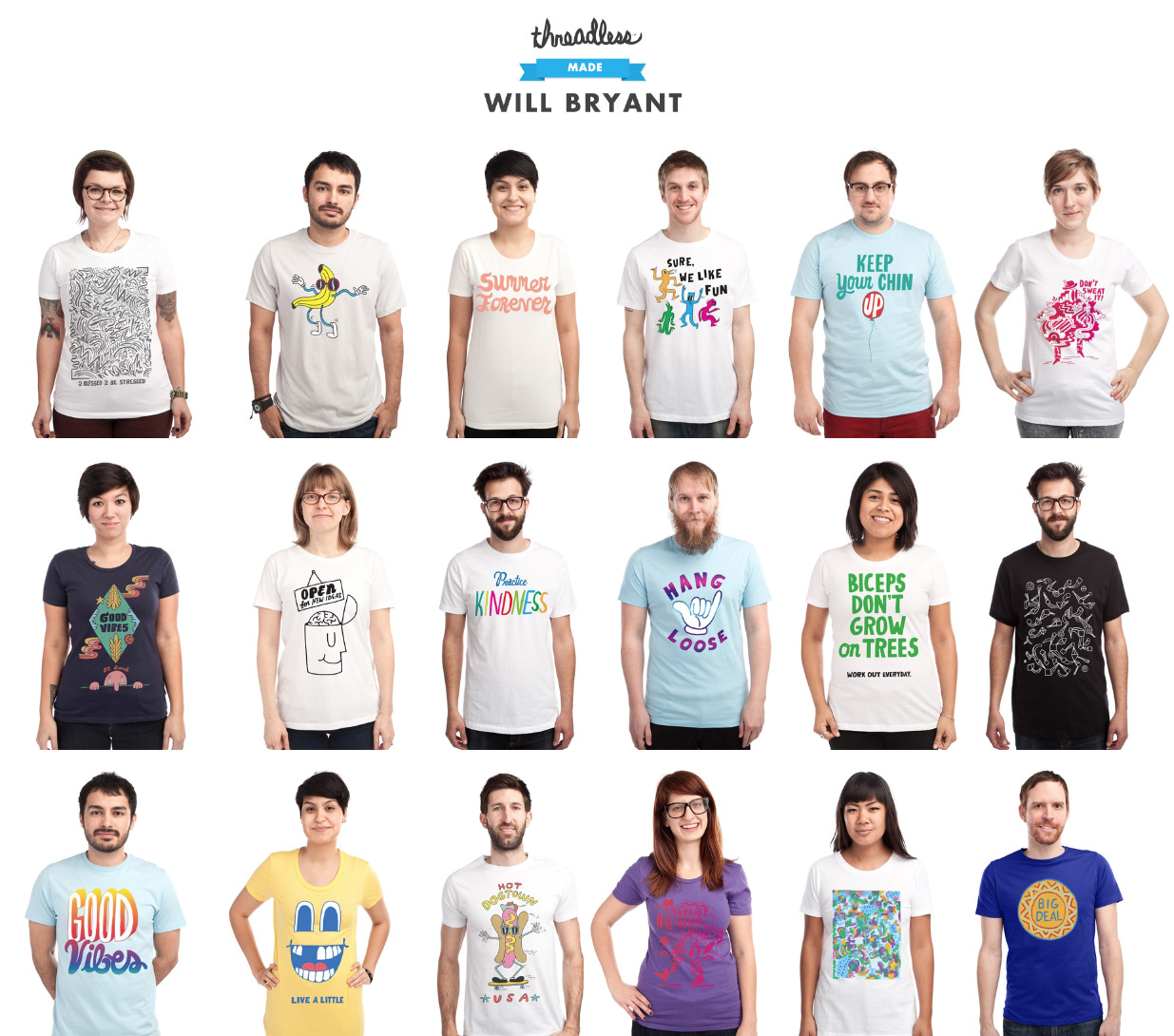 WB x Threadless Made Mega-honored to have my own Threadless collection! Each design is available in mens & womens and also some other futuristic products like baby onesies and hardshell iPhone sleeping bags.