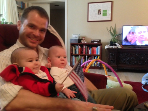 Hugo watching the Oath of Office with Caleb and Uncle Sam.