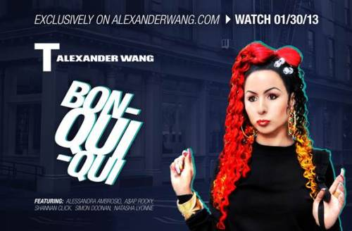 T by Alexander Wang Spring 2013 campaign, with Anjelah Johnson as Bon Qui Qui, http://www.youtube.com/embed/yKPTTIlA5gg
