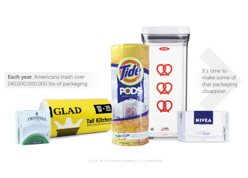good:   Ask Brands to Try a Design Solution to Cut Packaging Waste- Aaron Mickelson posted in Design, Product Design and Sustainable Design Every year, Americans throw out 70 million tons of packaging. We can do better. Email or tweet at your favorite brand and ask them to consider one of these solutions to make packaging disappear. Continue reading on disappearingpackage.com