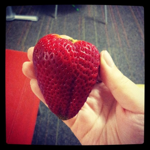 Strawberry as big as my hand! So sweet and yummy. :)
