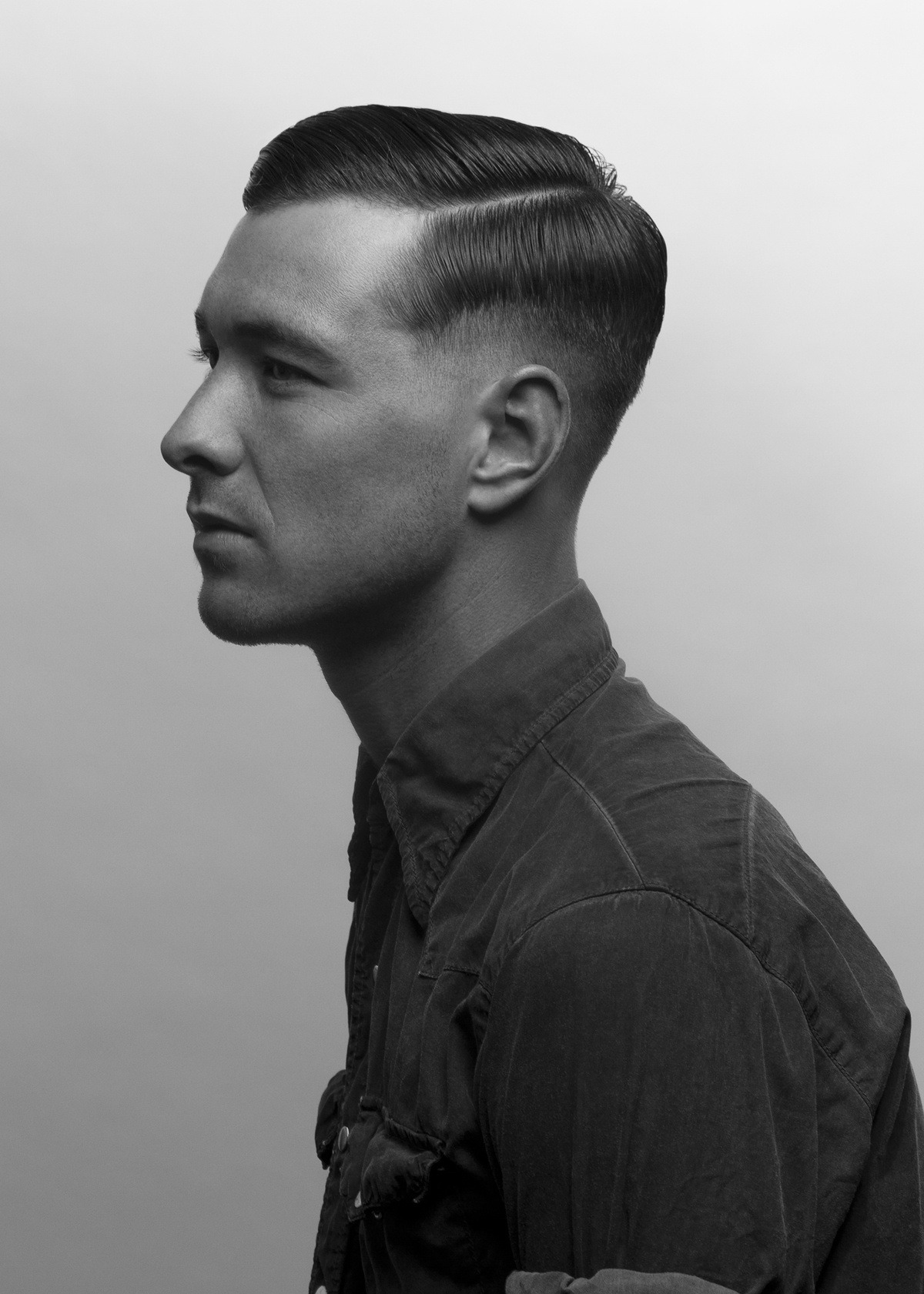 nickelsonwooster:  Part.  Side part, fade sides and back