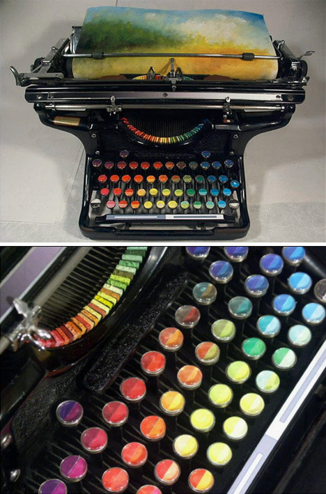 escapekit:   Chromatic Typewriter Prints Tyree Callahan has recycled (or upcycled, perhaps) a classic 1937 Underwood typewriter by replacing letters with sponges soaked across the spectrum with bright yellows, reds, blues and combinations thereof.  I WANT THIS!!!