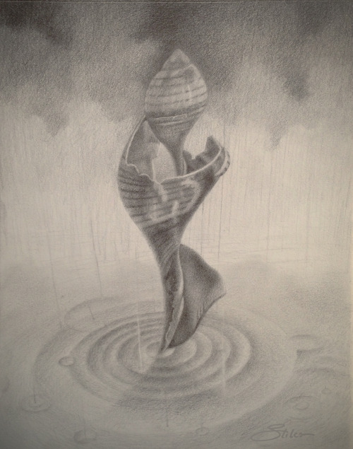 'Dancing In The Rain' … pencil drawing by Kevin Stiles.