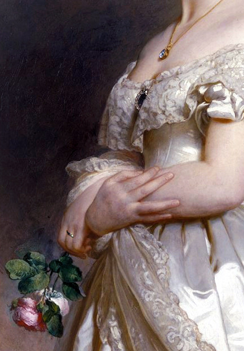 c0ssette:  Detail of Queen Victoria by Franz Xaver Winterhalter (1842)