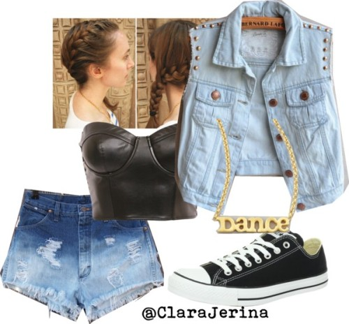 Sexy Denim ♡ by clarajerina featuring faux leather topsFaux leather top / Wrangler cutoff shorts / Converse  trainers / Dogeared  jewelry