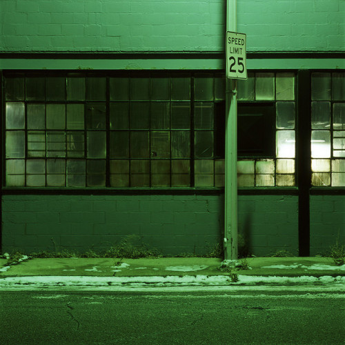 Highland Park industrial building at night1 by Kevin Bauman on Flickr.