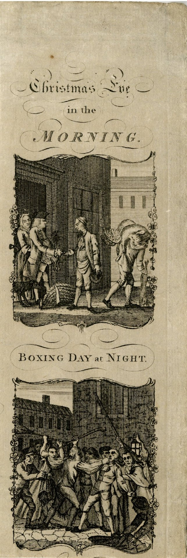 centuriespast:  Christmas Eve in the Morning / Boxing Day at Night Print made by Anonymous .1770-1800 (circa) The British Museum  Lol that's funny!!! :)