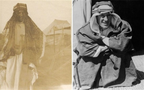 "A better view of the new ""lost photo"" of T.E. Lawrence (on left). The photo on the right is not newly discovered.   Source: http://www.telegraph.co.uk/news/9924656/Previously-unknown-Lawrence-of-Arabia-photograph-goes-on-sale.html"