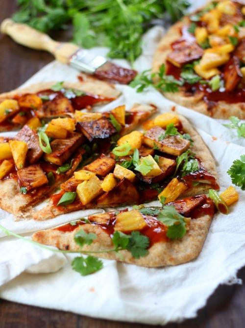 BBQ Baked Pineapple Tofu Pizza   vegan foody