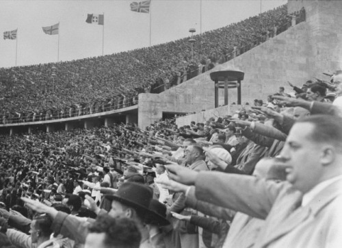 German citizens saluting Adolf Hitler at the opening of the 11th Olympiad in Berlin, 1936.