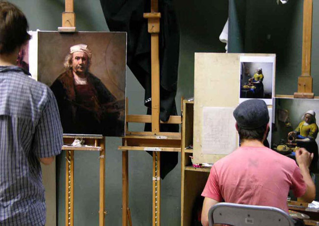 Copying works by Rembrandt and Vermeer at the Angel Academy of Art in Florence.
