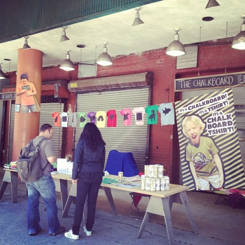 It's a beautiful day in the neighborhood at @FultonStallMarketNYC come enjoy it with us. #NYC #Market #Shopping #ChalkboardTee #chalkart #chalkboard #shirt #downtown