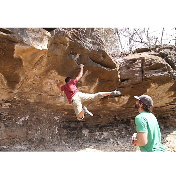 DS trying some Kung Fu moves on Turn of the Screw.  #bouldering #rockclimbing #climbing #petersbranch #outdoor #fitness #picoftheday