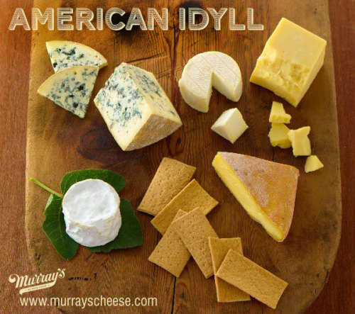From our 2012/13 Gift Guide: American Idyll GET IT? Our mongers say: If the proof is in the pudding (here pudding = cheese, duh), a taste of this selection will show anyone that American cheesemaking has come into its own. This stuff makes us feel patriotic: DELICATE Vermont Butter & Cheese Cremont BUTTERY Champlain Valley Triple Cream FUNKY Meadow Creek Grayson TANGY Milton Creamery Prairie Breeze Cheddar LICORICE-Y (for real!) Jasper Hill Bayley Hazen Blue HEARTY Urban Oven Olive Oil Crackers