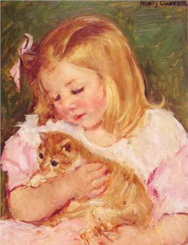 "It's a Cassatt Caturday. This 1908 painting by famed artist Mary Cassatt depicts a little girl holding an adorable kitten - perfect Caturday fodder. It's also a perfect opportunity to shamelessly promote a brand new (totally free) exhibition at the Library's landmark 42nd Street building - Daring Methods: The Prints of Mary Cassatt. Here's a description: ""Spanning twenty years of Cassatt's career as a printmaker, from 1878 to 1898, this exhibition documents her first tentative steps in the medium and culminates with her highly accomplished and technically dazzling color prints."" So come on down today (before 6 p.m.) and check it out on the third floor - there won't be any paintings as seen here, but the prints from our Wallach Division of Art, Prints and Photographs are pretty amazing (you can some of them here). You have something better to do on this glorious Caturday? See you later!"
