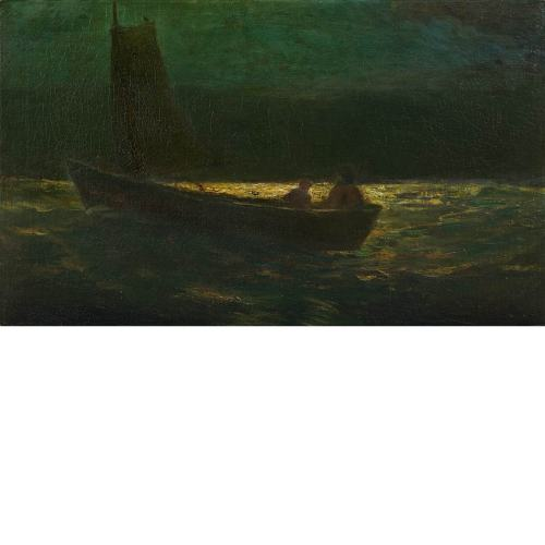 centuriespast:  Robert Loftin Newman American, 1827-1912 Boating at Night (Sailboat manned by Two Men)  Doyle New York