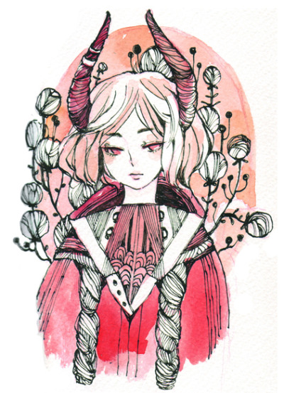 角 Red pencil + sepia ink + sketchbook