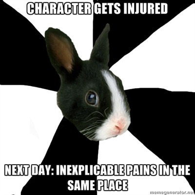 fyeahroleplayingrabbit:  I decided one of my characters was going to sprain an ankle in a relatively minor scuffle. Soon after I RP'd him with the sprained ankle my ankle started hurting for no good reason at all—I didn't injure it or anything. At least I get to walk around with an improvised cane for a while.  I know this feeling