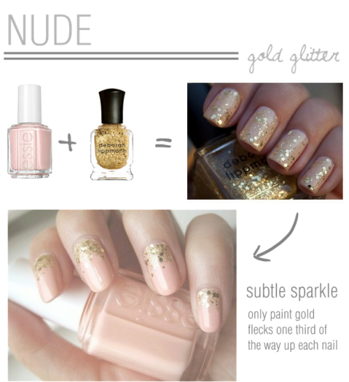 bride2be:  diy nude nails with a touch of sparkle