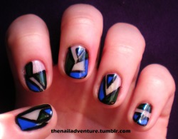 Blue and Green Geometric Negative Space Mani