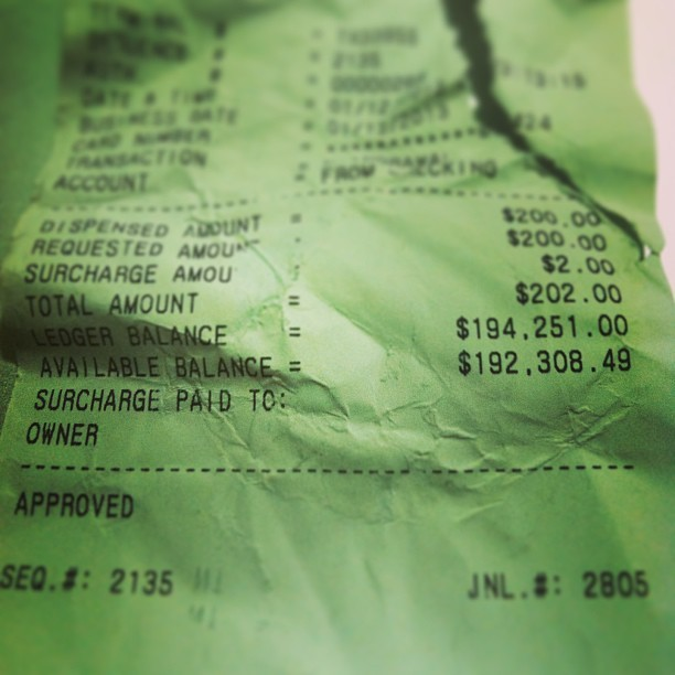 #Available #balance $192,308. At the #atm I accidentally grab this receipt thinking it was mine after I withdrew some money… Only in #NewYork #trustfund #money