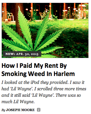 How I Paid My Rent by Smoking Weed In Harlem by Joseph Moore
