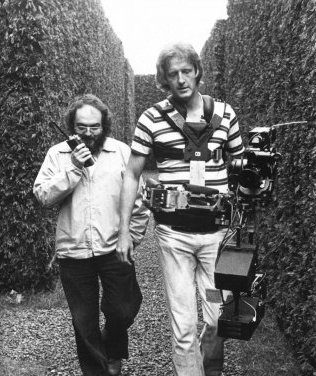 Director Stanley Kubrick and John Alcott on the set of The Shining (1980).