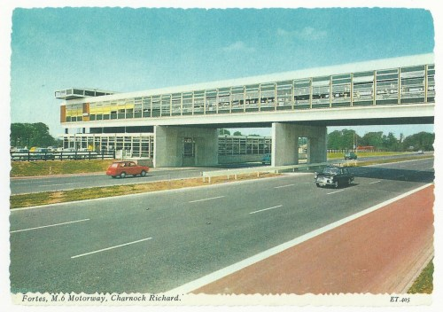 From Martin Parr's Boring Postcards, Fortes service station, M6 motorway, Charnock Richard (via The Poetics of the Motorway | Litro)