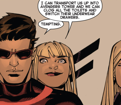 Magik has a brilliant idea.From Uncanny X-Men #3 by Brian Michael Bendis, Chris Bachalo, Tim Townsend and Joe Caramagna.