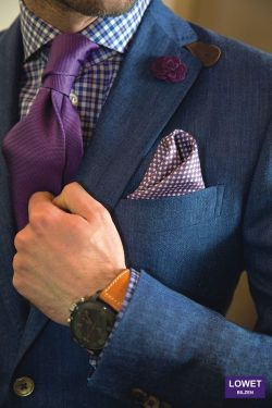 suitdup:  Ignoring the HORRIBLE tie knot (especially given the flyness of the shirt), I am thoroughly digging the mixing of blue and purple AND wool (hmm maybe that's linen?) and silk.