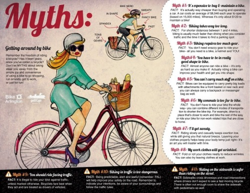gritsinnyc:  A great #cycling infographic about common #bikecommuting myths courtesy of our friends at @BikeArlington! Thanks guys! LOVE this! Ladies, don't let these myths keep you from trying out a bike commute to work! Thanks to Mandy Gallagher for posting this!
