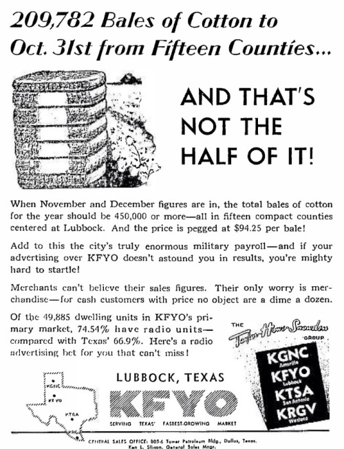 KFYO, Lubbock, Texas, has put together an extensive station history on its website. Here's a link to the second part. In 2012, staffers discovered new information about KFYO's origin.  The station had its roots in a 1923 Bentonville, Ark., radio station.  The only known record of a radio station in those days was KFVX, circa 1925.   The station apparently disbanded and moved to Texarkana, Texas, as KFYO in 1926.  The station moved to Breckenridge, Texas, and Abilene, Texas, before ending up in Lubbock in 1932.   Today, it's a news/talk station owned by Townsquare Media. Source: Wikipedia (KFYO-AM)
