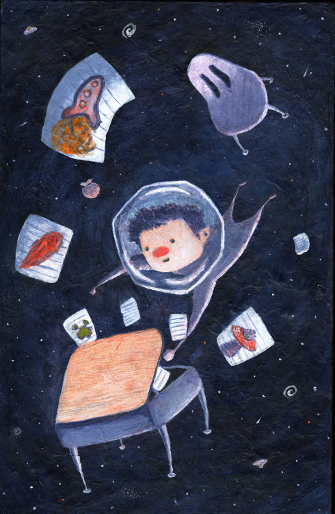 Kid Rocket  childrens book illustration - Acrylic over Tissue