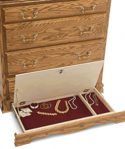 Secret lockable drawer compartment in bottom of dresser